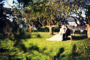Deer park Hotel Devon wedding bride and groom