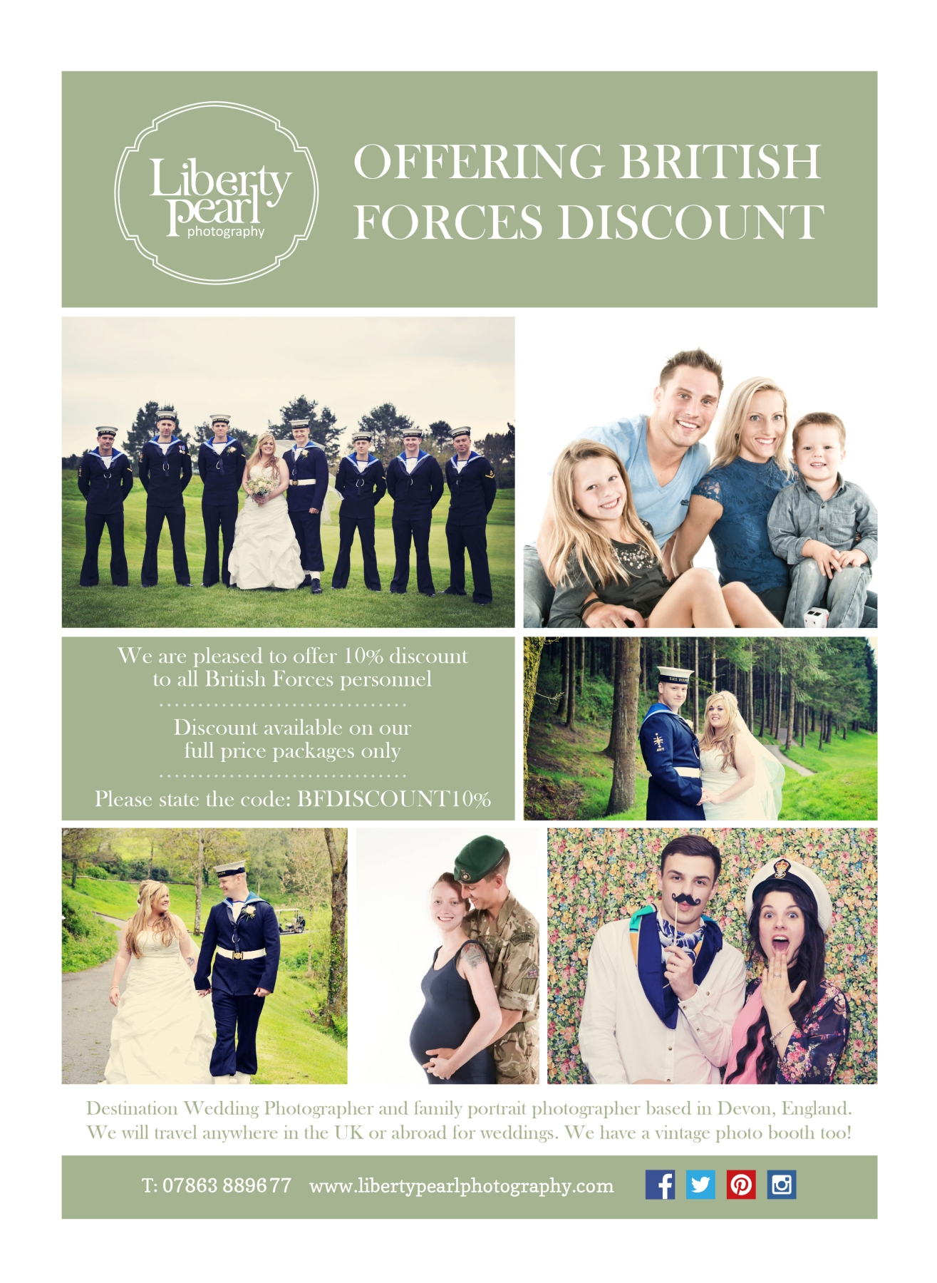 We Offer 10% British Forces Discount wedding photography Plymouth Devon Exeter