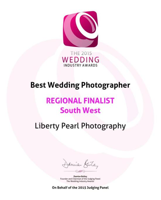 The Wedding Industry Awards 2015 - Regional Finalist best South West Wedding Photographer Liberty Pearl Photography