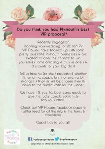 VIP Flowers Proposal Competition Plymouth Wedding