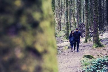 Pre wedding engagement photo shoot in Cornish woodland Cardinham woods