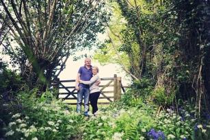 Pre wedding shoot Devon Bluebell woodland farm engagement couple