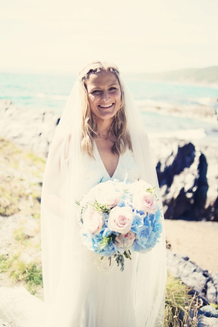 Jodie and Will wedding Polhawn Fort - Cornwall wedding photographer bride