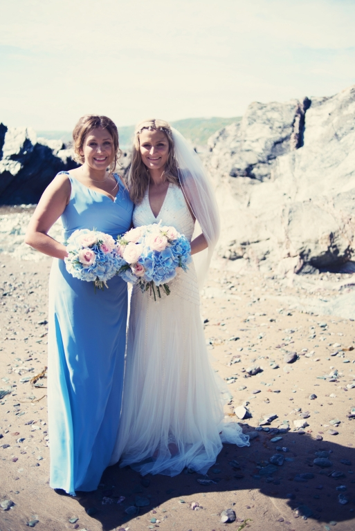 Jodie and Will wedding Polhawn Fort - Cornwall wedding photographer bride and briidesmaid