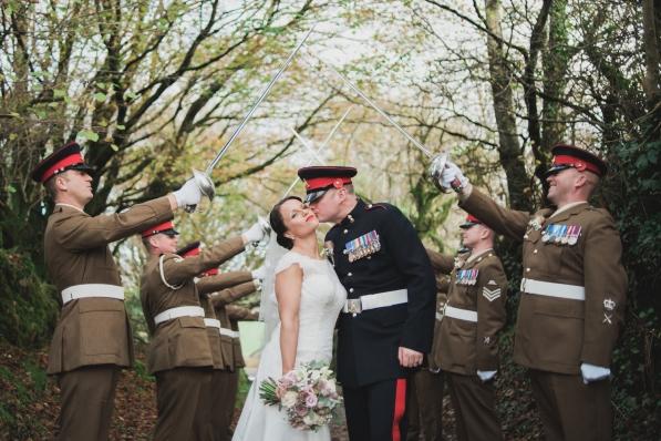 Trevenna Barns Cornwall military rustic winter wedding 115