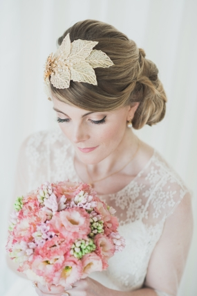 Styled wedding model bride pink and Gold St Ives Harbour hotel Cornwall