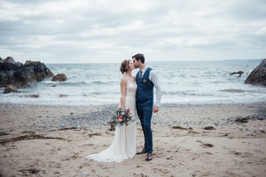 Polhawn Fort outdoor ceremony Cornwall wedding photographer beach wedding